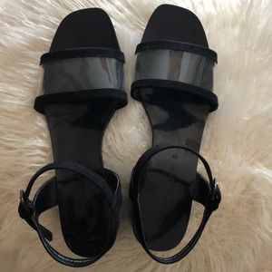 Zara black sandal with ankle & lucite strap